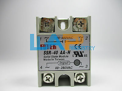 1PC NEW FOTEK solid state relay SSR-40AA-H  80-280V AC / 90-480V  AC + Heat Sink