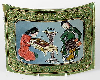 Antique Chinese Reverse Painting on Glass Women Playing Musical Instruments
