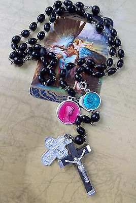 Vintage French Wooden Rosary Beads With Enamelled Medallions