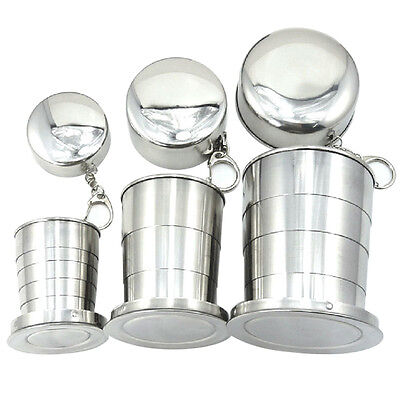 New Stainless Steel Portable Folding Outdoor Travel Cup Mug Keychain for Camping