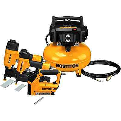 BOSTITCH 3-Tool and Compressor Combo Kit Home Garden Tools Brand New