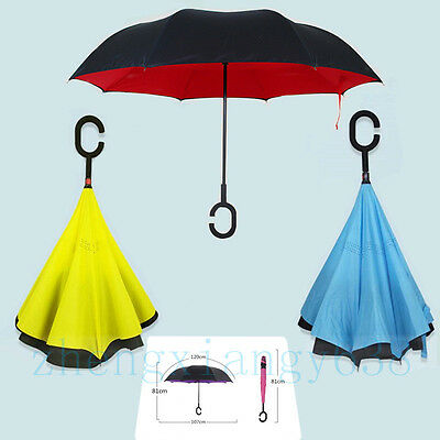 C Handle Umbrella Windproof Double Layer Inside-Out Upside Down Reverse Folding