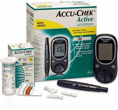 Accu-Chek Active Glucose Monitor with 50 Strips Glucometer (Black) Brand New