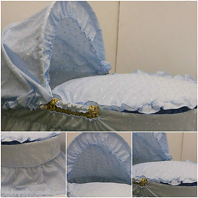 Replacement Moses Basket Dressing Covers Bedding Blue B.a Cotton Mix Boy New