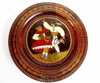 Hand Painted Pokerwood Wall Hanging Hard-carved with Brass Inlay 1970 Poland