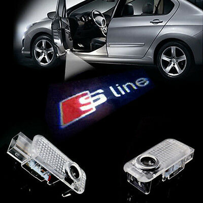2x Car Door LED Courtesy laser Projector Logo Ghost Shadow Light For AUDI