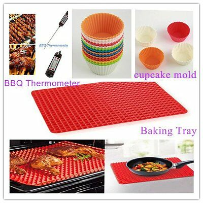 Pyramid Pan Non Stick Fat Reducing Silicone Cooking Mat Baking Tray Sheets*BY