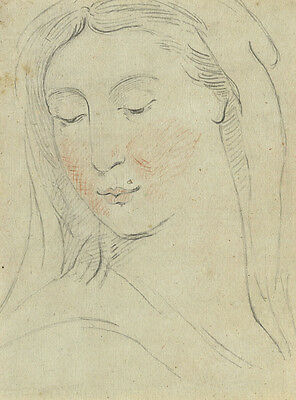Portrait of a Woman - Original early 19th-century graphite drawing