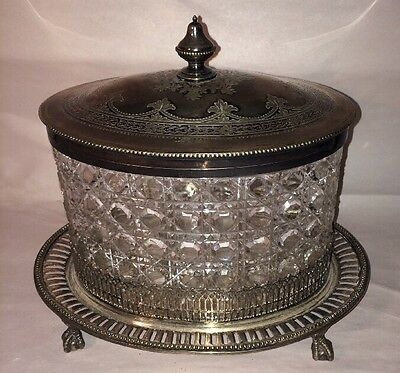 Antique Cut Glass And Silverplate Box On Tray