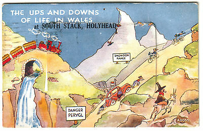 Old Postcard South Stack Holyhead Mail Novelty 12 Folding Pull Out Views 1951