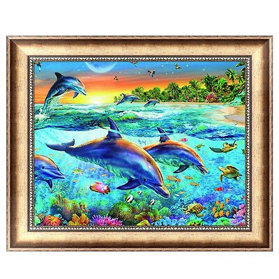 DIY 5D Full Diamond Painting Dolphins Embroidery Cross Stitch Crafts Home Decor