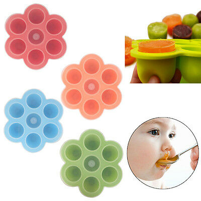 Silicone Kid Baby Food Container Storage Silicone Freezer 7 Cubes Trays with Lid