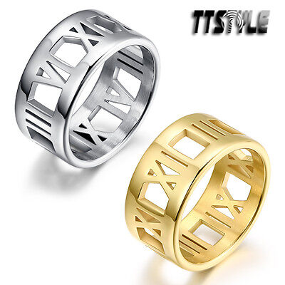 TTstyle 10mm Width Roma Number Stainless Steel Band Ring Silver/Gold NEW