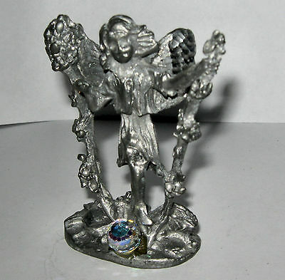 Pewter Figurine Angel With Flowers 58 Mm High