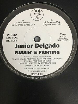 Junior Delgado ‎– Fussin' & Fighting rare 12 inch promo vinyl