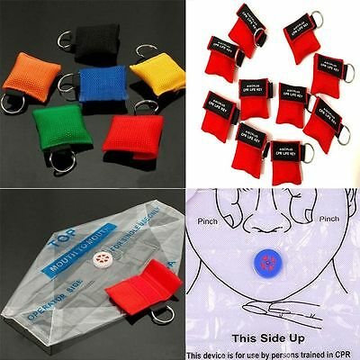 First Aid Keychain Emergency CPR Resuscitator Key Ring Face Shield Mask