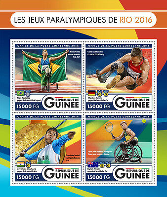 Guinea 2016 MNH Paralympic Games Rio 2016 4v M/S Paralympics Tennis Stamps