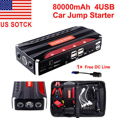 80000mAh Portable Car Jump Starter Pack Booster Battery Charger 4 USB Power Bank