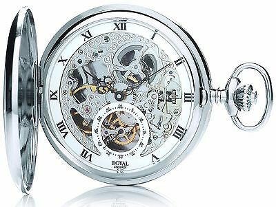 ROYAL LONDON Pocket Watch Jewelled Mechanical Skeleton Full Hunter 90028-01