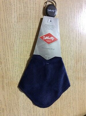 Mully Sports Towel Navy Blue With Retractable Carabiner Clip For Golf
