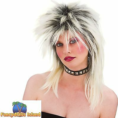 80s ASH BLONDE HIGHLIGHTS ROCKER PUNK WIG womens ladies fancy dress costume