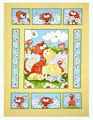 Susybee Purrl The Cat Quilt Panel * New * In Stock * Free Post * ��