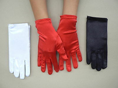 Short White Red Black Satin Gloves Formal Wedding Bridal Fancy Dress