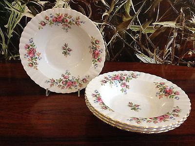 ROYAL ALBERT England,Bone China MOSS ROSE - 4 Suppenteller / Pastateller Ø 20cm