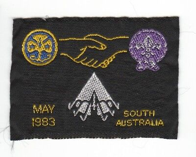 Vintage South Australia Girl Guides Boy Scouts Camp Blanket Badge Patch May 1983