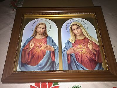 Beautiful Immaculate Heart of Mary and Sacred Heart of Jesus Print in frame.