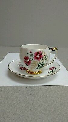 Vintage Royal Vale England Tea Cup and Saucer Pink Flowers