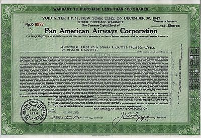 Pan American Airways Corporation Warrant 1945 (15 Shares)