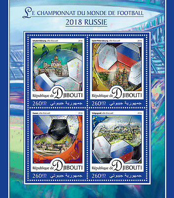 Djibouti 2016 MNH World Cup Football Russia 2018 4v M/S Soccer Sports Stamps