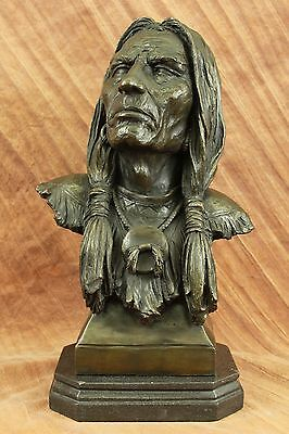 Rare Indian Native American Gift Chief Eagle Bust Bronze Marble Statue Sculpture