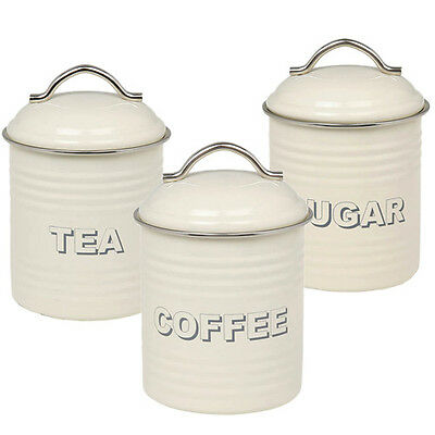 Set of 3 Tea Coffee Sugar Canisters Vintage Cream Kitchen Storage Tins Tea Caddy