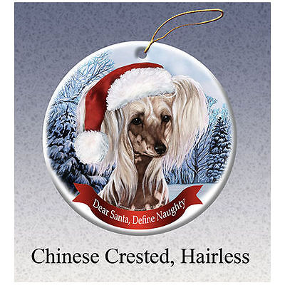 Chinese Crested Howliday Porcelain China Dog Christmas Ornament