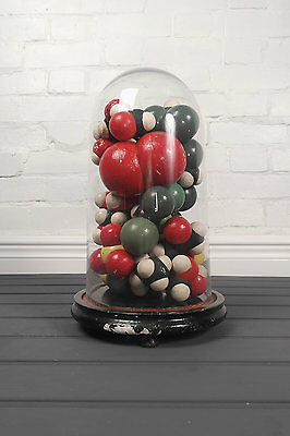 Original Set Hand Made Atoms Model Chemical Elements Display Glass Dome
