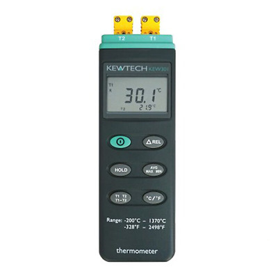 Kewtech KEW301 Dual Channel Thermocouple Thermometer with tripod connector