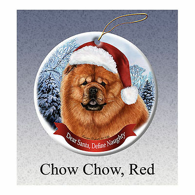 Chow Chow Red Howliday Porcelain China Dog Christmas Ornament