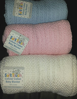 NEW Soft Touch 100% Cotton Baby Cellular Soft Blanket Cot/Moses Basket/Pram/