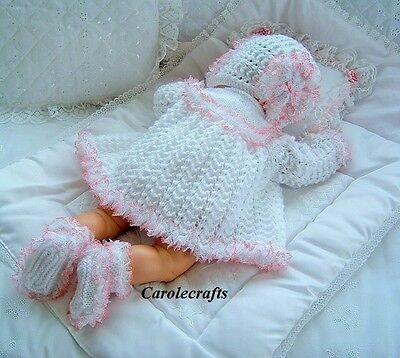 """Hand Knitted 3 Pce Lace Trim Matinee Set to fit 19""""-23"""" Reborn Baby / 0-3m Baby"""