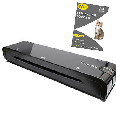 Laminator Machine BLACK Hot Roller For Home Office & 20 Laminating Pouches FREE