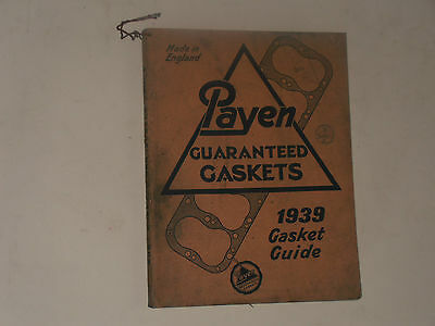 Payen  Gaskets   1939 Parts Catalogue Motor Cycles,cars Commercial Vehicles