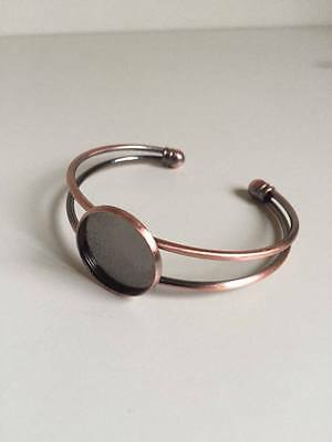 1 pc 20mm Round Bangle Bracelet Blank Tray Cabochon Cameo Base bezel (185)