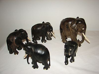 "Vintage LARGE Ebony African Elephants 5"" 4"" 3"" Tall Hand Carved Lot (5) Family"