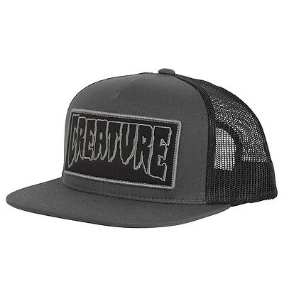 Creature REVERSE PATCH LOGO Skateboard Trucker Hat DARK GREY/BLACK