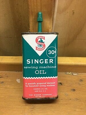 Vintage Singer Sewing Machine Advertising Oil Can