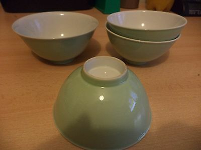 4 OLD VINTAGE CHINESE ORIENTAL PORCELAIN CHINA BOWL BOWLS pale green tea service
