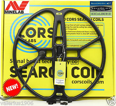 """New CORS FIRE 15""""x15"""" DD search coil for Minelab Sovereign/Excalibur + acc"""