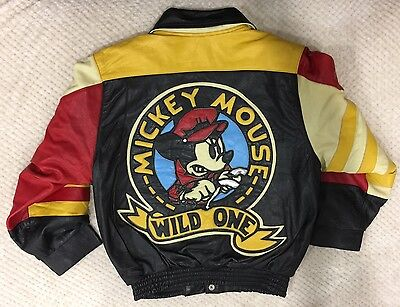 Vintage�� Mickey Mouse Wild One Motorcycle Racing Leather Jacket Club S Hamilton